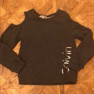 Calvin Klein gray sweatshirt sz 8/10 with cut out
